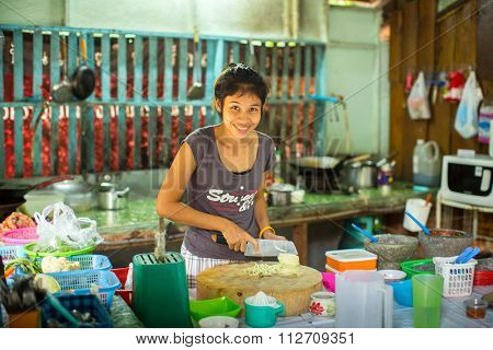 KO CHANG - THAILAND - DEC 19, 2015: Unidentified local woman on the kitchen. The island is part of marine national Park Mu Ko Chang. Ko Chang population of 5356 people living in 8 villages.