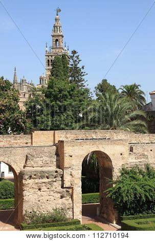 Giralda Bell Tower from Real Alcazar Gardens