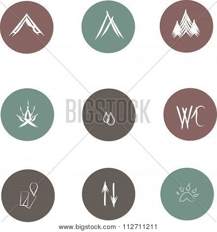 Round flat icons for camping, white lines on gray, green, maroon background. Signs of a camping area