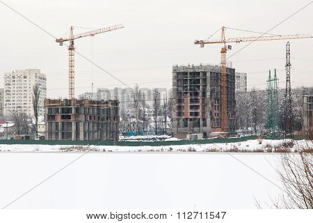 Houses Under Construction On Lake