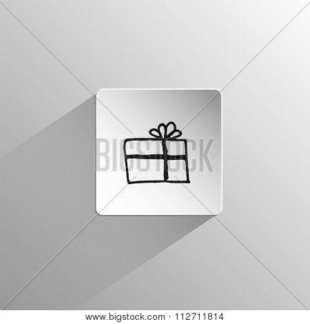 gift box Doodle black icon