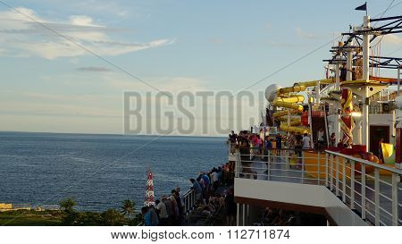 Carnival Breeze sailing away from La Romana, Dominican Republic