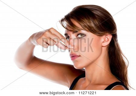Woman Pinching Nose