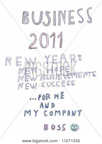 Happy New 2011 Year Isolated, Boss Message Congratulation