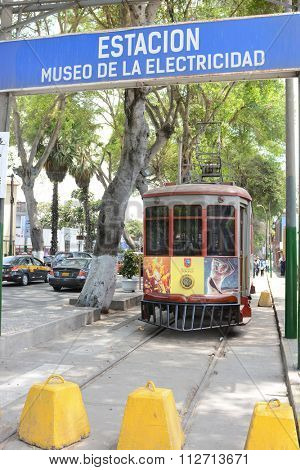 BARRANCO, PERU - OCTOBER 18, 2015: Electricity Museum Barranco. An Electric Tram a part of the museum in Barranco, Lima, Peru.