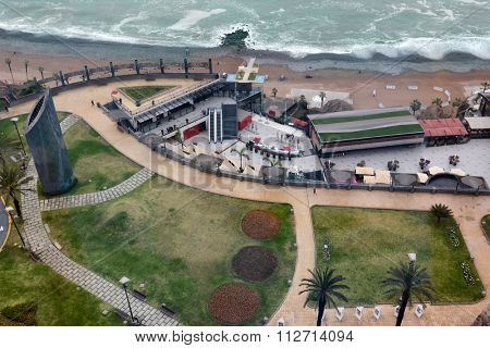 MIRAFLORES, PERU - OCTOBER 18, 2015:  Alfredo Salazar Park, Outdoor Mall and Miraflores Beach. The Miraflores District is an upscale area of Lima Peru.
