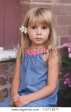 Portrait of cute little Girl outdoor.