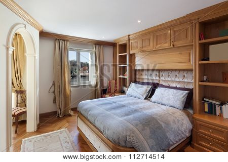 Architecture, comfortable bedroom of house in classical style