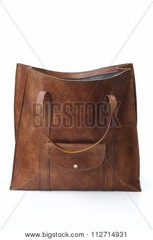 Vintage leather shopping bag