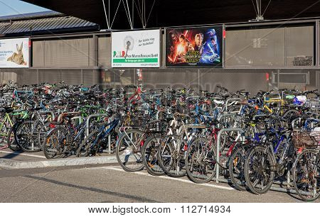 Bicycles Parked At The Zurich Main Railway Station.