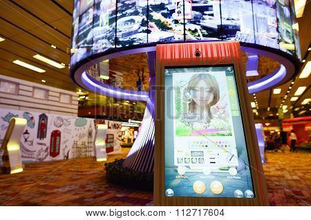 SINGAPORE - NOVEMBER 09, 2015: The Social Tree at Changi Airport. The Social Tree is avant-garde memory capsule, Changi's largest interactive installation