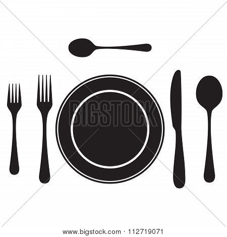 Black Silhouettes Of Cutlery, Tableware.