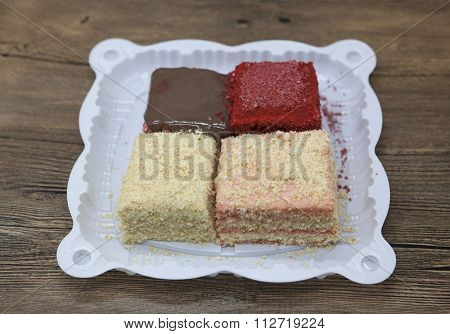 Dukan Diet. Set of cake, Red Velvet, Napoleon cake ,Carrot cake   fresh delicious diet cake  at Dukan Diet  on a wooden background.