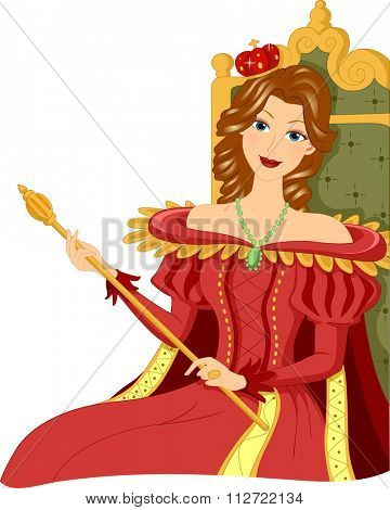 Illustration of a Woman Dressed as a Queen Holding a Scepter While Sitting on the Throne