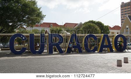 Curacao sign in Willemstad, Curacao