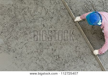 Plasterer Concrete Cement Worker Plastering Flooring Of House Construction