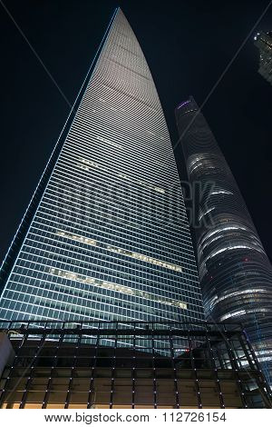 Shanghai, China - Circa September 2015: Shanghai International Finance Center, Lujiazui,  Pudong