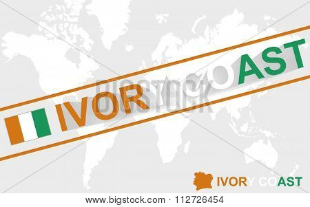 Ivory Coast Map Flag And Text Illustration