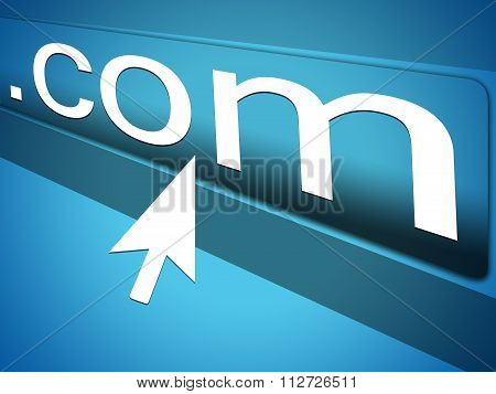 Mouse Cursor pointing at dot com text in Web Browser Address Bar, Arrow Pointer