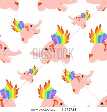 Seamless pattern pink flying elephant.