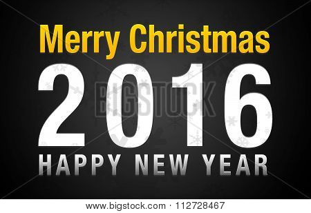 Merry Christmas 2016 Happy New Year Black Background