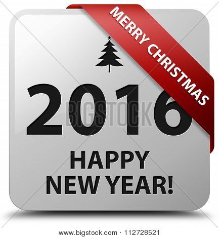 Merry Christmas 2016 Happy New Year Red Ribbon White Square Button