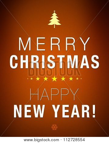 Merry Christmas And Happy New Year Brown Background