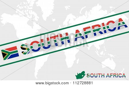 South Africa Map Flag And Text Illustration