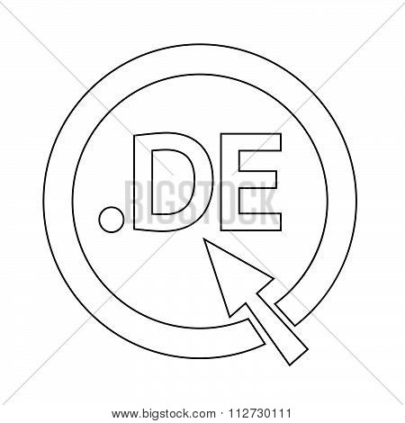 Germany Domain Dot De Sign Icon Illustration