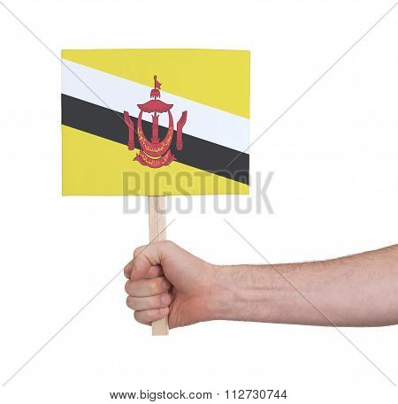 Hand Holding Small Card - Flag Of Brunei