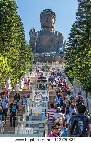 Hong Kong, China - Circa September 2015: People Climbing Stairs To Tian Tan Big Buddha At Po Lin Mon
