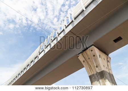 Closeup Perspective Modern Elevated Rail Transit Infrastructure Against Blue Sky