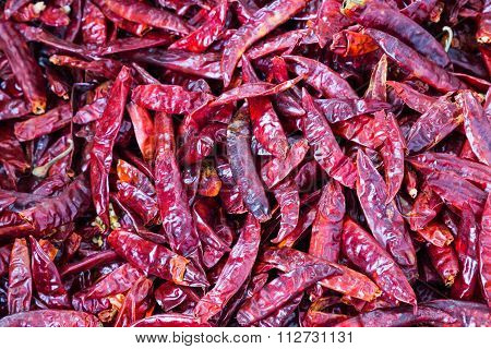 Heaps Of Freshly Dried Spicy Chilli Pepper