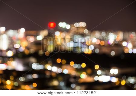 City Lights Blur Bokeh Defocused As Background