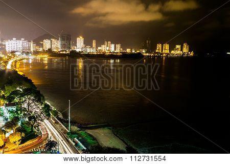 Night View Of Gurney Drive, Penang Popular Tourism Destination