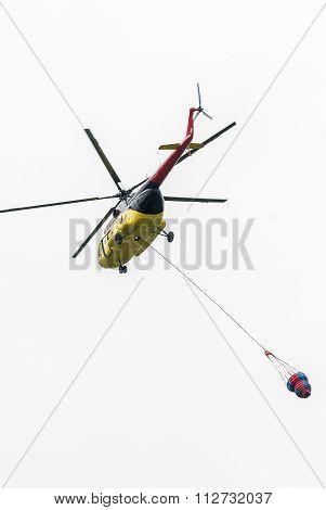 MI-8 Fire helicopter. Tyumen. Russia