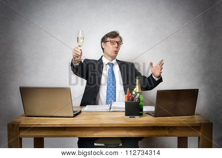 Business Man With Champagne Glass