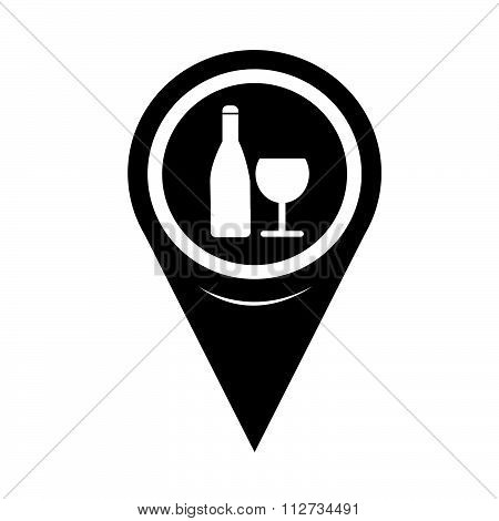 Map Pin Pointer Wine Glass With Bottle Icon