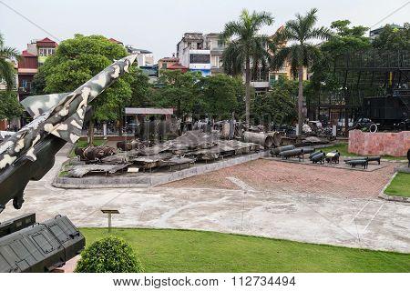 Hanoi, Vietnam - Circa September 2015: Plane Wreckage In B-52 Victory Museum In Hanoi,  Vietnam