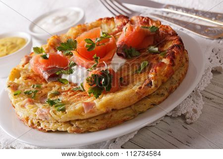 Swiss Fritters With Salmon And Sauce On A Plate Close-up. Horizontal