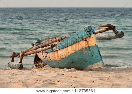 Indigenous Fishing Boat On Mozambique Beach