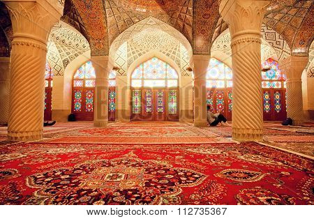 Impressive Interior Of Nasir Ol Molk Mosque And Resting People Inside