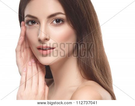 Beautiful Woman Touching Her Face By Palms Close Up Portrait  Isolated On White