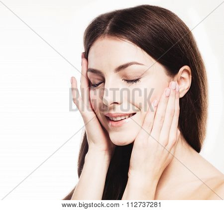 Beautiful Woman Portrait Face Close Up Touching Her Head By Fingers Isolated On White