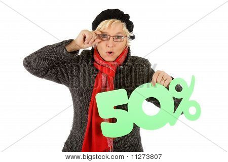 Middle Aged Woman, Fifty Percent Discount Sign