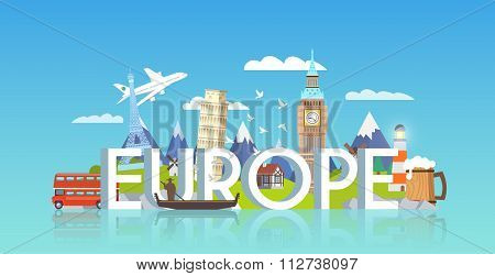 Travel banner. Trip to Europe.