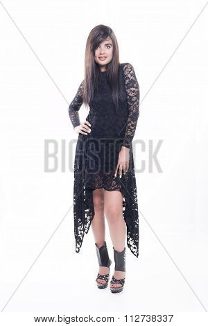 Smiling Model With Black Dress