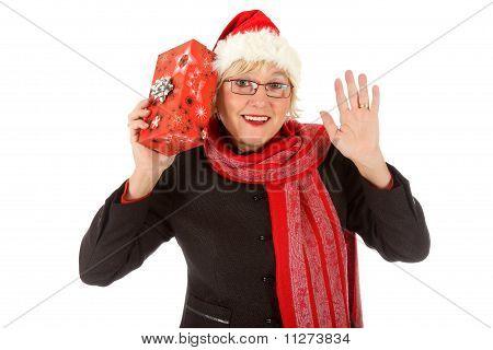 Fröhlich Middle Aged Santa Frau, Geschenk