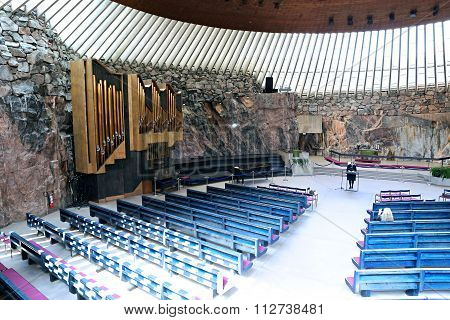 The Interior Of The Church In The Rock (temppeliaukio) In Helsinki