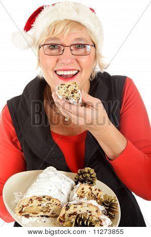 Caucasian Woman Eating Traditional Cake